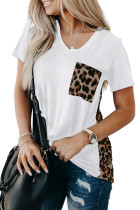 White Leopard Printed Splicing T-Shirt LC253578-1