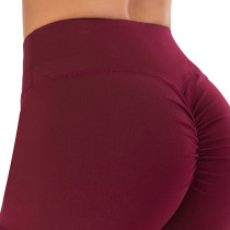 Wine Red Fitness Yoga Shorts TQK520017-103