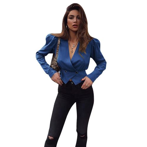 Blue V Neck Short Style Lady Blazer Suit TQS260012-5