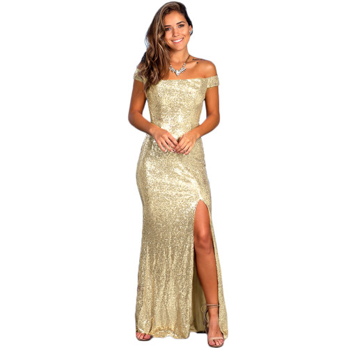 Gold Off Shoulder Sequin Split Evening Dress TQK310237-12