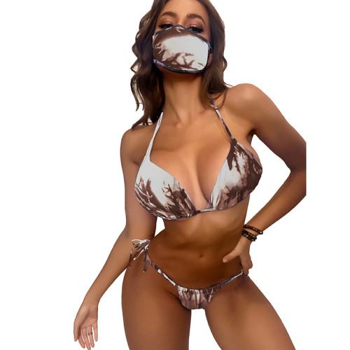 Coffee Tie Dye Triangular Smocked Bikini With Mask TQK610174-15