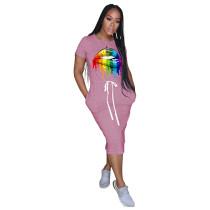 Pink Lips Print Elastic Waist Casual Dress TQK310322-10