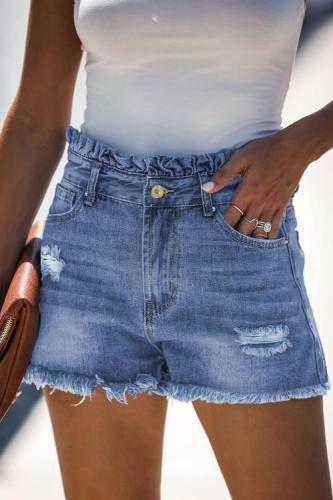 Sky Blue High Rise Ruffle Waist Denim Shorts LC786259-4