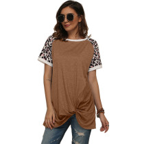 Coffee Splice Leopard Print Short Sleeve Tees TQS210034-15