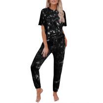 Black Tie Dye Short Sleeve Home Wear Set TQK710034-2