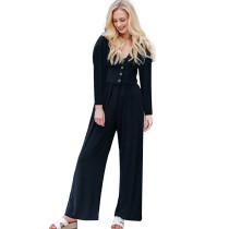 Black Long Sleeve Button Up Wide Leg Jumpsuit TQK550141-2