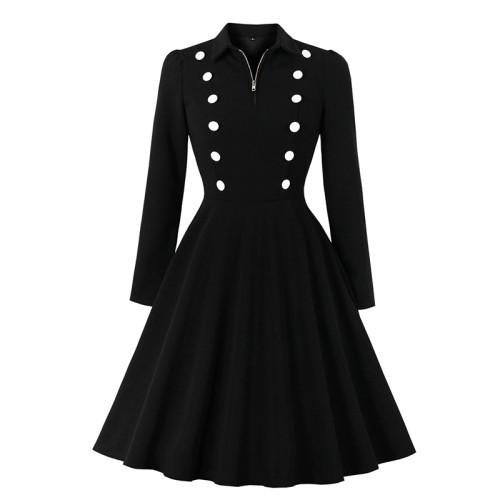 Black Zipper Neck Button Detail Skater Dress TQS350021-2