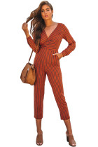 Red Striped Wrap V Neck Long Sleeve Jumpsuit