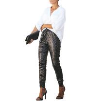 Black PU Elastic Sequin Pants TQK510015-2
