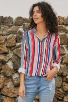 Red Blue Striped Modern Women Shirt LC251389-3
