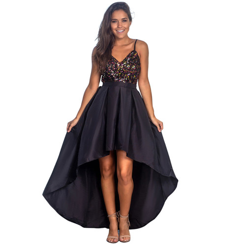 Black Sequined High Low Party Dress TQK310236-2