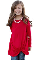 Red Twist Knot Detail Long Sleeve Girl's Top