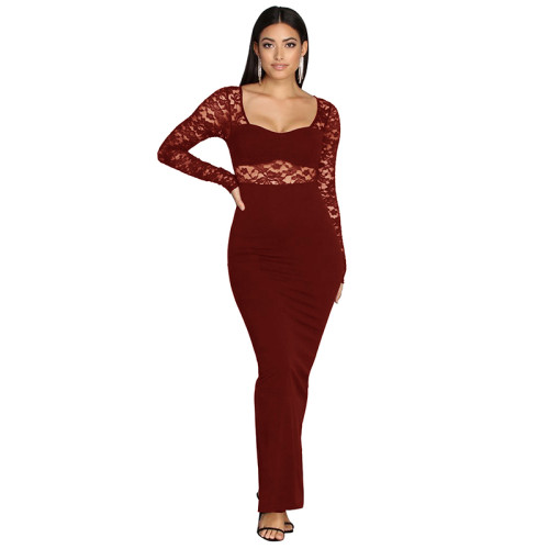Wine Red Long Sleeve Sheer Lace Evening Dress TQS330017-103