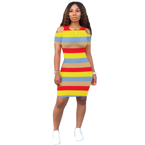 Red Yellow Striped Cold Shoulder Bodycon Dress TQS310079-3