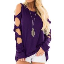 Purple Cold Shoulder Unique Long Sleeve Tops TQS210037-8
