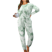 Light Green Cotton Blend Long Sleeve Loungewear Jumpsuit TQK550202-28