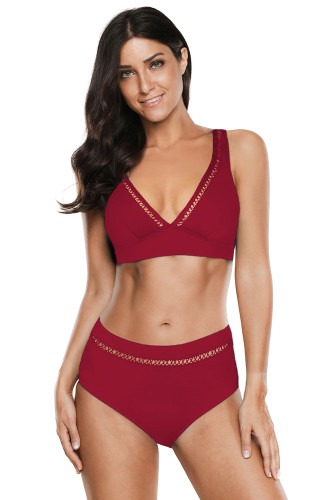 Red V Neck Hollow Out High Waist Bikini LC412251-3