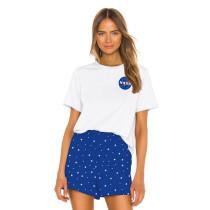 Blue Digital Print Short Sleeve Home Wear Pajama Set TQK710038-6