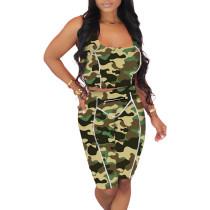 Green Camouflage Print Zip Detail Bodycon Shorts Set TQK710089-9