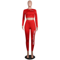 Red Letter Print Crop Top with Pant Set TQS710017-3