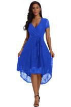 Royal Blue Wrap and Tie Lace Hi-lo Midi Dress