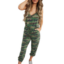 Army Green Camo Jumpsuit with Pockets TQK550127-27