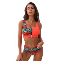 Orange Leopard Printed Zipper Top Bikini TQS610029-14