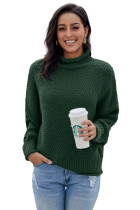 Green Oversized Chunky Batwing Long Sleeve Turtleneck Sweater LC270118-9
