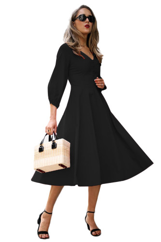 Black Button Front Balloon Sleeve Vintage Dress