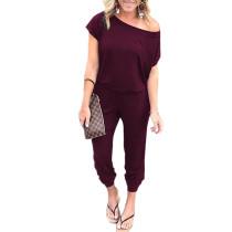 Wine Red One Shoulder Short Sleeve Jumpsuit