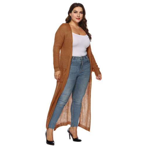 Brown Split Plus Size Cardigan With Pockets TQK270039P-17