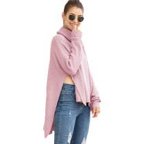 Pink Split Hem Turtleneck Sweater TQK271026-10