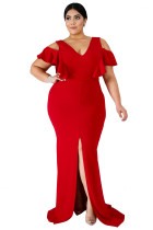 Red Plus Size Flamous Mermaid Dress