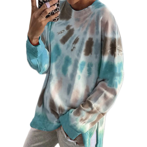 Aquamarine Cotton Blend Tie Dye Plus Size Sweatshirt TQK210431-45