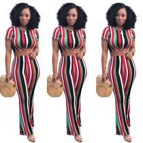 Black Multicolor Stripes Crop Top with Pant Set