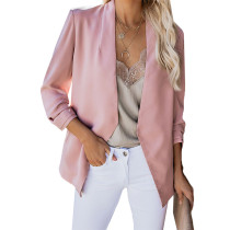 Light Pink 3/4 Sleeve Lightweight Blazer With Pockets TQK260015-39 (This items size is smaller, pls