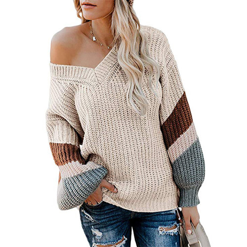 Apricot V Neck Loose Knit Sweater TQK270019-18