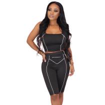 Black Zip Detail Bodycon Shorts Set TQK710088-2