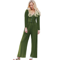 Army Green Long Sleeve Button Up Wide Leg Jumpsuit TQK550141-27