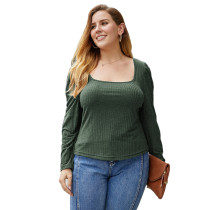 Dark Green Square Neck Long Sleeve Plus Size Tops TQK210419-36