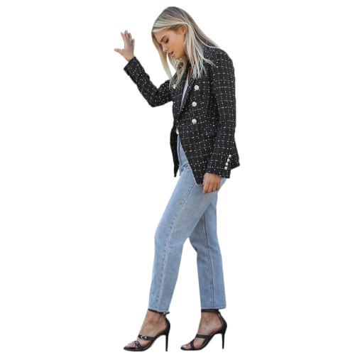 Black Plaid Print Button Blazer Suit TQK260032-2