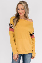 Yellow Long Sleeve Leopard Stripes Pocket Blouse LC2521237-7