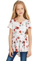 White Toddler Girls Hi-lo Hemline Floral Tunic Top