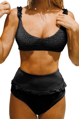 Black Smocked High Waist Bikini Set LC412163-2