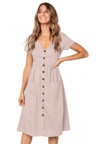 Pink Stylish Button Front Midi Dress with Pockets