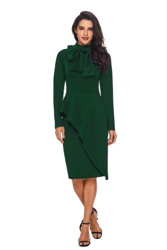 Jade Green Asymmetric Peplum Style Pussy Bow Dress