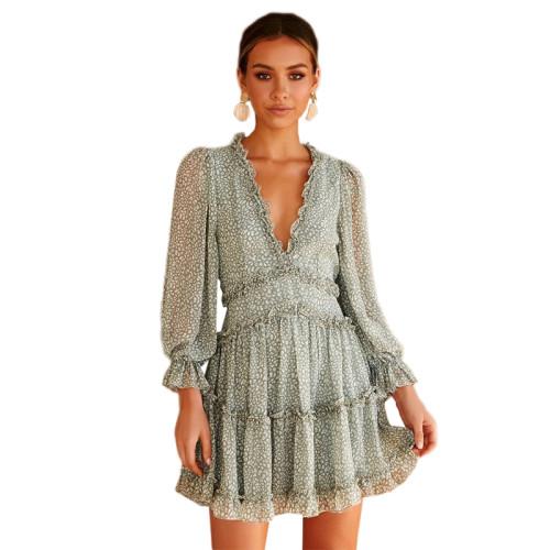 Light Green V Neck Puff Sleeve Comfort Dress TQK310171-28