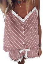 Pink Stripes Frill Trim Cami Pajamas Set LC45016-10