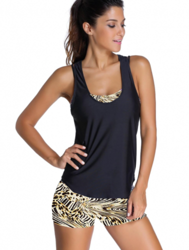 Leopard Sports Bra Tankini Swimsuit with Black Vest LC41996-20
