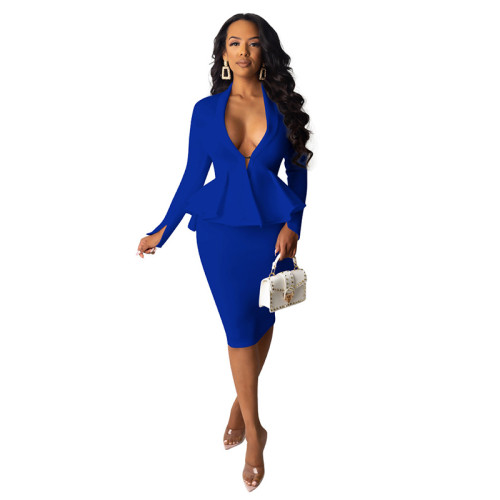 Blue Long Sleeve Ruffled Top With Skirt Set TQK710030-5